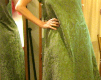 Custom Raglan Sleeve A Line Dress, Green Jacquard Shift Dress