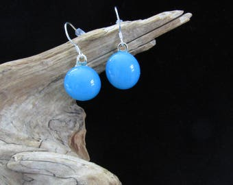 Sale; Blue Cabochon Earrings; Cabochon Earrings; Fused Glass Earrings; Fused Glass Jewelry; Dangle Earrings; Fused Glass Cabochon/EWB802