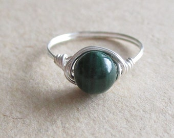 Malachite gemstone round bead wire wrapped ring pinky ring - size 4 1/2