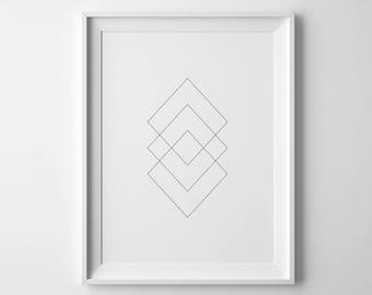 Square Geometric Printable Art, 8x10, 4:5 Ratio, Modern Wall Art, Instant Download, Digital Print Printable Art