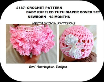 Crochet Diaper Cover Pattern, Baby Set, Hat and Soaker, Tutu Ruffled Diaper cover, #2187, crochet clothing for baby, photo prop, adorable