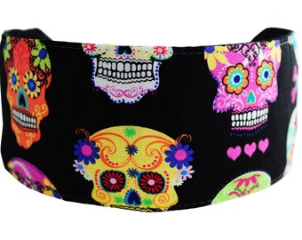 Bargain Headbands, Day of the Dead, Multicolor Skulls and Hearts Over Black, Wide Headband
