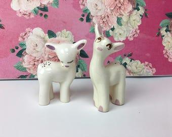 Vintage Deer Figurines, set of 2 Deer Figurines, White Deer Knick Knacks, gift for her