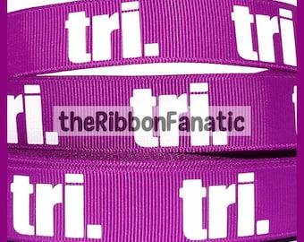 "5 yds 7/8"" Triathlon Tri on Neon Purple Grosgrain Ribbon"
