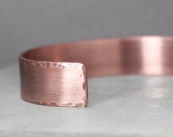 Men's Copper Cuff, 1/2 Inch Cuff, Men's Distressed Cuff, Distressed Copper Cuff, Cuff For Guy, Gift For Him, Gift For Dad, Hand Stamped Cuff