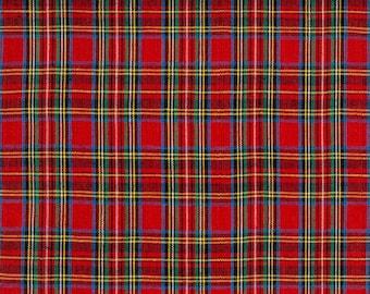 Red Royal Stewart Tartan Plaid Fabric  -  100% Cotton Quilting Apparel Crafts Home decor
