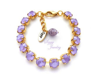 Swarovski®  Crystal Bracelet, 8mm Lilac, Light Opaque Purple Pastel, Spring Bracelet, Bridesmaids Gift, Assorted Finishes, Gift Packaged