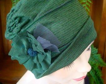 womens hat chemo hat womens hat ooh lala hat cloche very fine merino headcover chemo gift striped