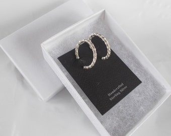 Sterling Silver .925 Twisted Hoop Earrings with post backs