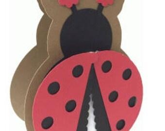 Ladybug Shaped Card , Blank inside , Pop dots , Spring , Summer , PaperCut , Free Shipping