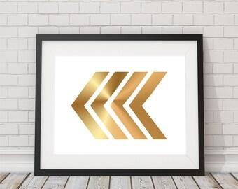 Gold Foil Arrow Chevron Girlie Print 8x10 or 11x14  Matte Options