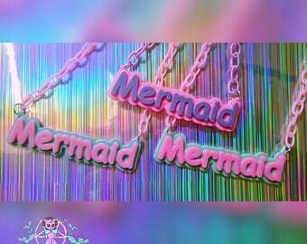 mermaid letters statement necklace Pastel Goth, Soft Grunge, kawaii,soft grunge, lolita,harajuku,fairy kei