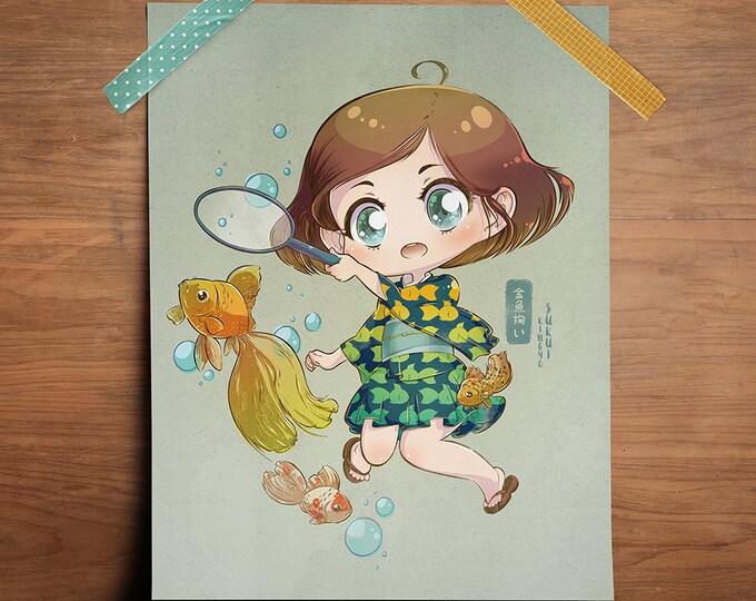 "Featured listing image: Goldfish Scooping - Original 8.5"" x 11"" Print"