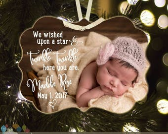 Photo Baby's First Christmas wished upon a star twinkle twinkle photo METAL ornament BLX-002