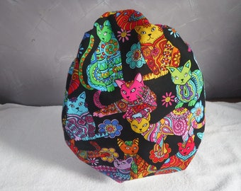 Bouffant surgical scrub hat cap medical black multi color cats