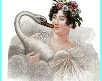 antique illustration Leda and the swan digital download