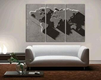 """3 Panel Split Art 3D effect World Map Canvas Print, 1.5"""" deep frames, Triptych, art for home/office wall decor & interior designwall art"""