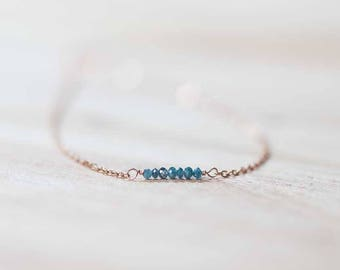 Tiny Blue Diamond Necklace on Sterling Silver, Oxidized Silver or Rose Gold Filled Chain, Genuine Diamond Jewelry, Minimal Layering Necklace