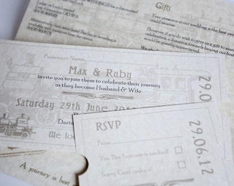 Train Ticket Wedding Invitation Parchment & Chocolate Travel Ticket