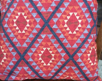 Pillow, Handmade, Hand Sewn, Machine Washable, Hypoallergenic, Fiber-fill, Aztec Pattern, Rust Red Color