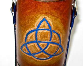Leather bottle holder celtic knotwork