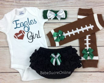 Eagles Girl, Baby Football Outfit, Cheerleader Game Day Outfit, Eagles Baby Girl Clothes