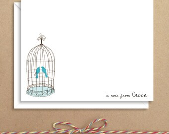 Birdcage Flat Notes - Birdcage Stationery - Flat Note Cards - Thank You Cards- Illustrated Note Cards