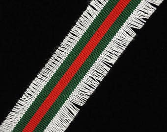 Red Green Fashion Trim Ribbon with White Fringe, Double Face Trim, DIY Choker Trim, DIY Belt Trim