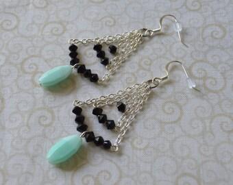 Blue/Black Bohemian Bead & Chain Dangle Earrings