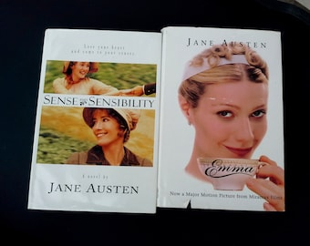 Jane Austen, Emma and Sense and Sensibility, Hardcover vintage books in Black and Gold, classic stories of Victorian era