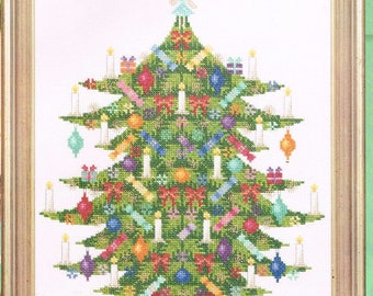 Old Fashioned Christmas Tree Cross Stitch Pattern - Tree With Candles - Christmas Cross Stitch Chart - Christmas Decor Pattern