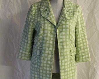 Vintage 60s San Francisco Green Checkered Print Open Jacket // XS S Blazer