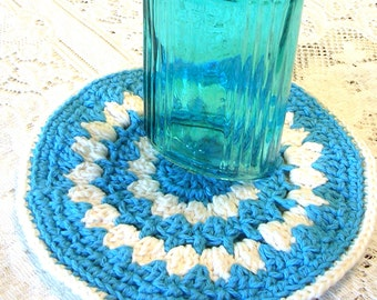 Crochet Pot Holder Blue - Round Crochet Trivet  - Crochet Hot Pad - Round Potholder