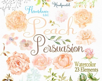 Peach rose clipart, floral roses clipart, clipart peach roses, watercolor clipart, clip art, peach flower, apricot, salmon pink, orange