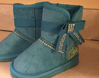 Toddler Bling Faux Shearling Teal Colored Sueded Winter Boots w/ Bow