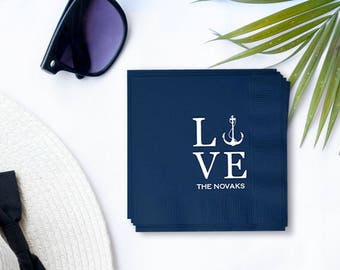 Custom Nautical LOVE Wedding Napkins - Foil Stamped Napkins