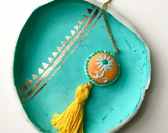 Polymer clay pendant with tassel | yellow | teal | gift for her | handmade | neckalce is not included