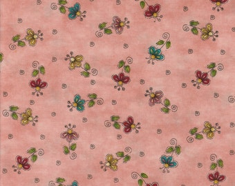 No FOWL Play - Per Yd - Henry Glass by Leanne Anderson - Flowers on Salmon