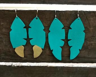 Feather earrings, Feather leather earrings, statement earrings, Boho earrings