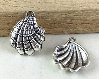 Sea Shell Charm -25pcs Antique Silver Clam Shell Charm Pendants 18x20mm M107-1