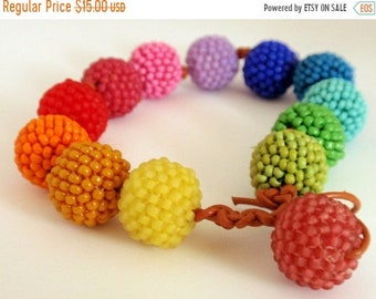 Half Price One week sale Knotted Beaded Beads in Neon Colors Bracelet