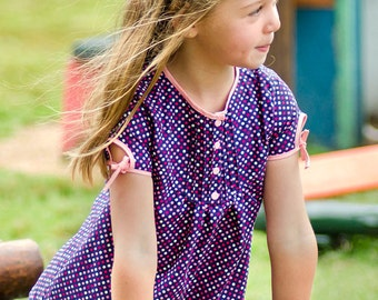 Lily Bird Studio PDF sewing pattern Sandy's tunic -  12 mths to 10 yrs - 3 sleeve options: short, 3/4 sleeve length, long sleeve