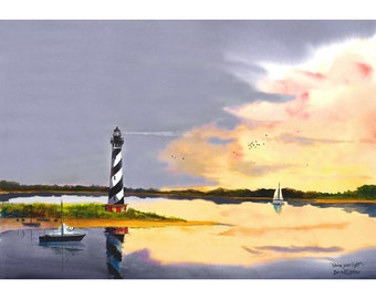Peinture à l'aquarelle phare reproduction de giclée PRINT Cap Hatterus Caroline du Nord Seascape voiliers voilier
