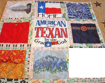 Custom Made T-shirt Quilt, Patchwork Quilt, Nine Patch Quilt, Memory Quilt FREE US Shipping, Reduced Int'l Shipping