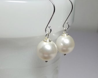 White Pearl Drop Earrings, Wedding Bridesmaid Valentines Mothers Day Mom Sister Grandmother Birthday Wife Girlfriend Jewelry Gift Simple