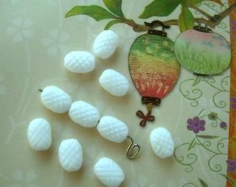 10 Vintage Czech Beads White Milk Glass Textured Rectangles