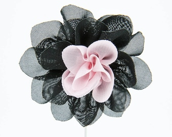 Christina Black/Pink Flower Lapel Pin
