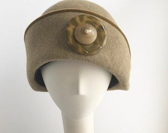 Camel Cloche with Velvet Trim and Button Flower