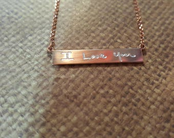 Bar Necklace (vertical) with ACTUAL handwriting in ROSE gold filled+chain included-EnGraved