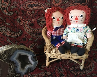 Vintage 1960's Knickerbocker Toys Raggedy Ann & Raggedy Andy/vintage dolls/nursery decor